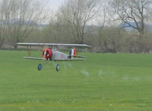 Nieuport 17 puffing out smoke